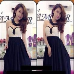 Đầm dạ hội cúp ngực viền ren phối 2 màu cá tính sành điệu DDh194