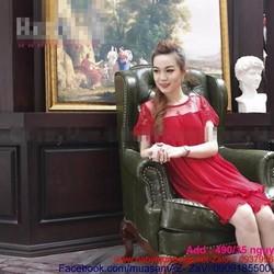 Đầm bầu korea phối ren vai và voan dập ly sang trọng cho nàng DB504