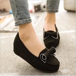 Giày búp bê bánh mì nơ xoắn đen
