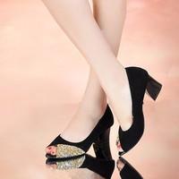 Giày gót vuông đính đá cao cấp - LN181