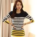 Áo thun tay dài sọc vàng trắng đen cho nàng thêm tự tin-150