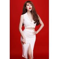 Set bộ áo croptop cổ vest và chân váy trắng xẻ cao tuyệt đẹp M37