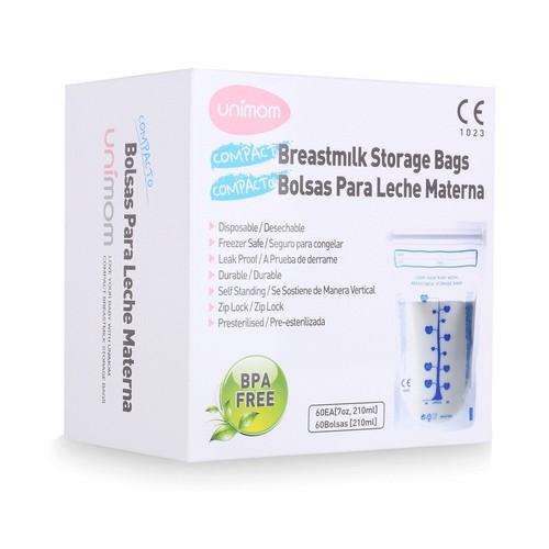 Hộp 60 túi trữ sữa mẹ không BPA 210ml UNIMOM COMPACT UM870268 [Made in Korea] [Tốt và rẻ so với Sunmum, Mother-K, GB Baby, Kichilachi, Spectra, Medela, Lansinoh, Natur, Pur]