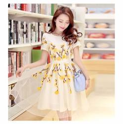 BT980208 Đầm hoa phong cách trẻ trung, sành điệu