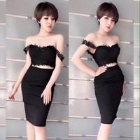 Đầm body bẹt vai - 034
