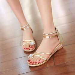 Giày Sandal xỏ ngón đính đá dây kéo hậu - LN190