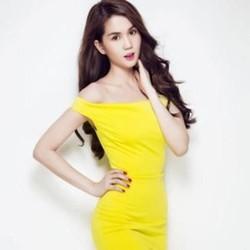 Đầm ôm body trễ vai màu vàng nổi bật sang trọng như Ngọc trinh DOV147