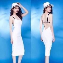 Đầm trắng body hở lưng thiết kế sexy giống Ngọc Trinh DOV168