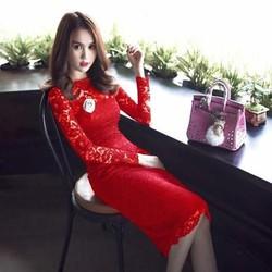 Đầm body dài tay ren co giãn màu đỏ sang trọng nổi bật DOV297