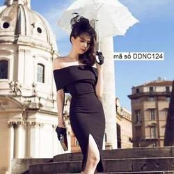Đầm body vai ngang thiết kế xẻ đùi sang trọng như Ngọc Trinh DDNC124