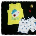 Bộ quần kaki áo thun cotton hình gấu cho bé 1-8 tuổi