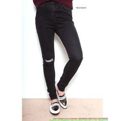 Quần jean nữ hot girl lưng cao rách 1 bên gối cực cá tính QJEVU210