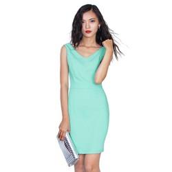 Đầm dự tiệc cao cấp thiết kế đổ lưng sang trọng xanh pastel X156395