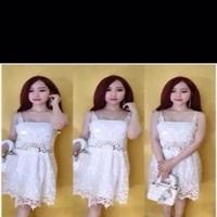Đầm xòe 2 dây phối ren trắng xinh đẹp dễ thương DXV253