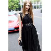 ẢNH THẬT-Đầm Vintage Ren Caro Thắt Nơ Cao Cấp-VDX81