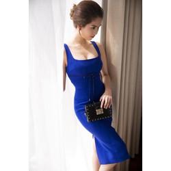 Đầm xanh coban ôm body thiết kế đơn giản như Ngọc Trinh M92
