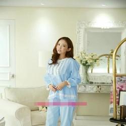 Đồ bộ mặc nhà pyjama phối ren hoa trắng viền tay và quần NN442