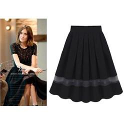 Chân váy vintage phối lưới nữ tính - Đen