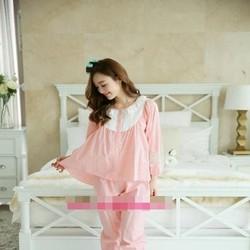 Đồ bộ mặc nhà pyjama dài tay phối ren hoa trắng trẻ trung NN443