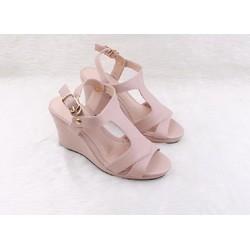 Giày sandal cao gót đế xuồng màu hồng CG113