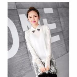 Áo sơ mi nữ dài tay, thiết kế phối ren nổi bật, màu sắc cổ điển.