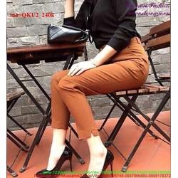 Quần kaki nữ lửng xẻ lai phong cách sành điệu QKU2