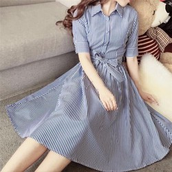 Đầm xoè cổ bẻ nút hàng nhập: MS: DH1449