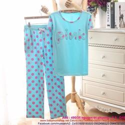 Đồ bộ bầu sau sinh quần dài pink chấm bi thun co giãn 4 chiều DBS30
