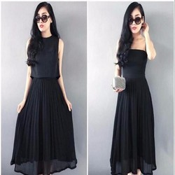 Sét áo kiểu mang 2 mặt và chân váy xòe xếp ly xinh đẹp SEV365
