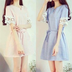Đầm suông caro viền ren hàng nhập: MS: DH14414