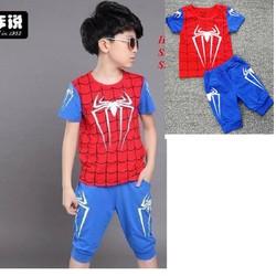 Bộ bé trai in hình người nhện xanh NX360