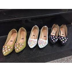 giày búp bê nữ đính hoa gỗ - chất liệu da-size 36-37-38-39