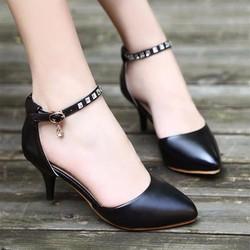 Giày cao gót quai đính đá phối khóa sang trọng - LN193