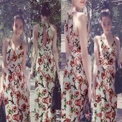 Đầm maxi 2 dây hoa loang màu nổi bật sành điệu DDH364
