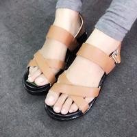 Giày sandals quai chéo đế bánh mì màu da bò SDQN17