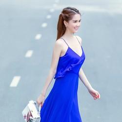 Đầm Maxi Xanh 2 Dây Đẹp Như Ngọc Trinh