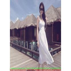 Đầm maxi cúp kiểu 2 dây màu trắng trẻ trung xinh đẹp DDH362