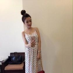 Đầm dạ hội 2 dây họa tiết chấm bi phối màu xinh đẹp DDH353