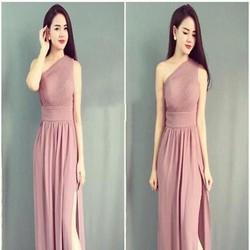 Đầm dạ hội maxi lệch vai và xẻ đùi sexy sành điệu DDH359