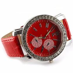 Đồng hồ viền đá dây da nhiều màu cho bạn tha hồ chọn lựa - 175