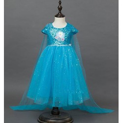 Đầm voan kim tuyến công chúa Elsa tà dài