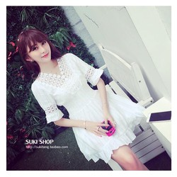 Đầm ren xoè trắng xinh xắn kiểu công chúa-D2370
