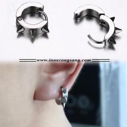 Bông tai inox Hàn Quốc khoen tròn gai màu bạc - Trang sức inox