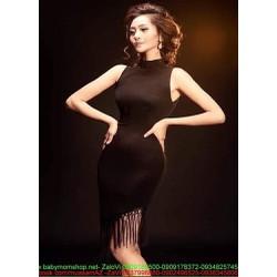 Đầm body thiết kế cổ yếm phối tua rua màu đen sang trọng DOV820