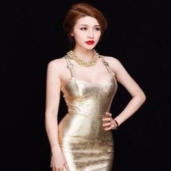 Đầm body dự tiệc kiểu dây nhũ vàng sang trọng quý phái DOV787