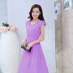 Đầm maxi chấm bi nơ vai