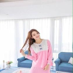 Đồ bộ mặc nhà nữ thun cotton phối ren và nơ xinh xắn NN400