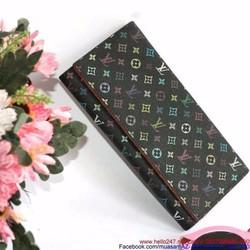 Ví da nữ thời trang dạng gập họa tiết bông hoa nhỏ sang trọng VIDAC19
