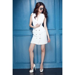 Đầm trắng cổ tim đẹp thiết kế giả vest như Ngọc Trinh M503