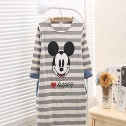 Đầm ngủ thun cotton sọc ngang hình chuột mickey xì teen NN394